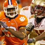 Clemson's Andre Ellington, left, scores a touchdown in front of Florida State's Ochuko Jenije during fourth-quarter action in Clemson, S.C. on Saturday, Nov. 7, 2009. (Travis Bell/Sideline Carolina)