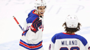 U.S. Colin White celebrates his goal against Canada with Sonny Milano during the 2016 IIHF World Junior Ice Hockey Championship match in Helsinki
